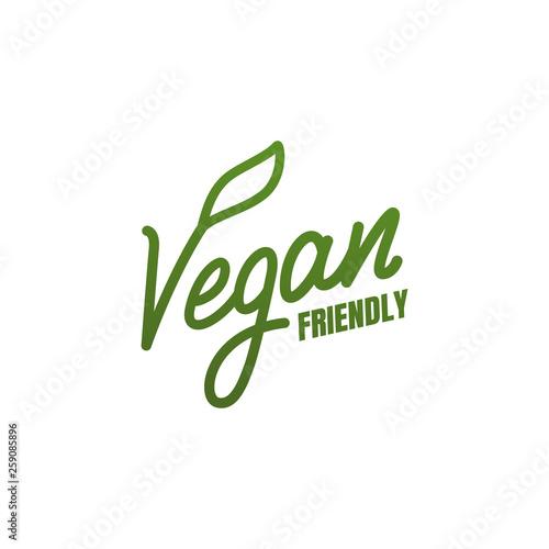 Fotografia, Obraz Vegan friendly. Vector lettering label for Vegan food products.