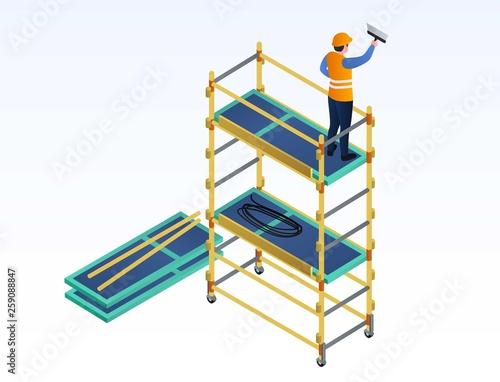 Obraz na płótnie Worker putty on scaffold banner