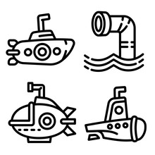 Periscope Icons Set. Outline Set Of Periscope Vector Icons For Web Design Isolated On White Background