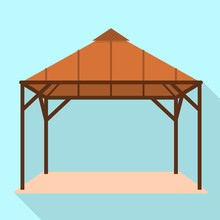 Wood Gazebo Icon. Flat Illustr...