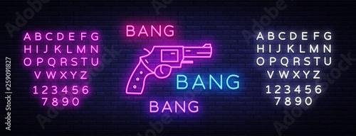 Photo  Bang Bang Gun neon sign vector