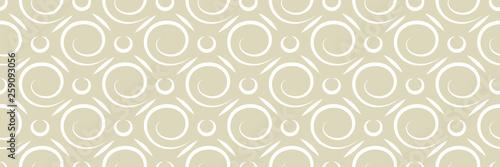 Fototapeten Künstlich Geometric seamless round pattern. White design on long olive green background