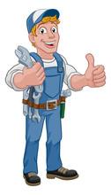 Mechanic Plumber Maintenance Handyman Cartoon Mascot Man Holding A Wrench Or Spanner. Giving A Thumbs Up