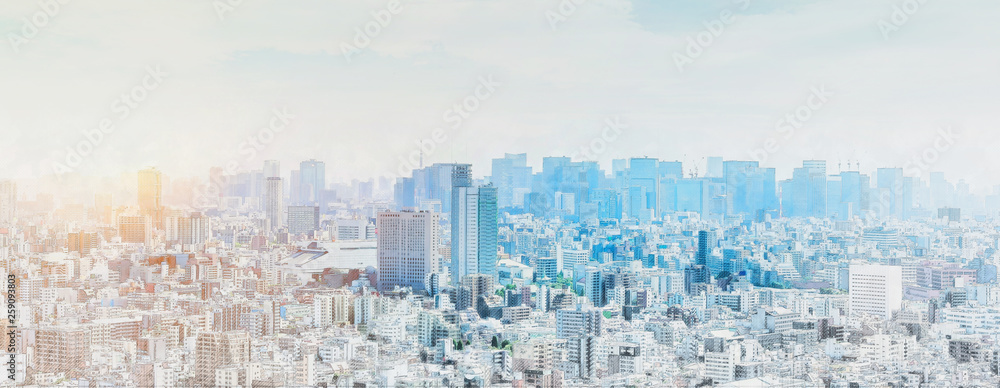 Fototapety, obrazy: panoramic modern city skyline mix sketch effect