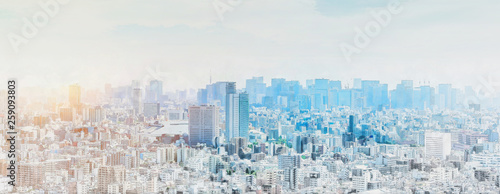 Photo  panoramic modern city skyline mix sketch effect