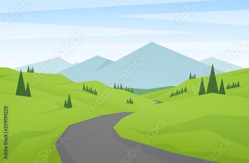 Obraz na plátně Cartoon flat summer mountains landscape with green hills, road and peaks