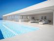 Leinwanddruck Bild - 3D-Illustration. modern luxury summer villa with infinity pool