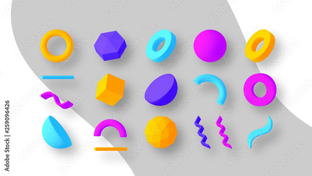 Fototapety, obrazy: Set of colorful geometric shapes. Elements for design. Isolated vector objects.