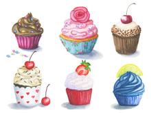 Large Set Of Cute Sweet Cupcak...