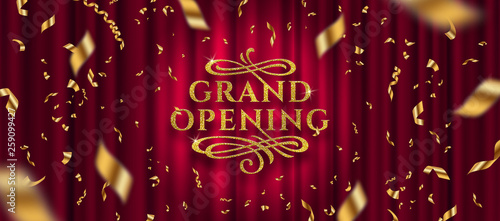 Obraz Grand opening logo. Golden foil confetti and glitter gold logo with flourishes ornamental elements on a red curtain background. Vector illustration. - fototapety do salonu