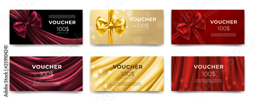 Fototapeta Golden voucher or red gift card, gold certificate for discount. Set of isolated template for present coupon with ribbon and bow. Shop invitation promo or flyer offer, birthday gift. Premium label obraz