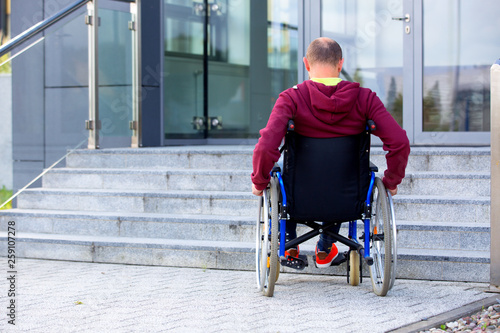 man on wheelchair and steps Canvas-taulu
