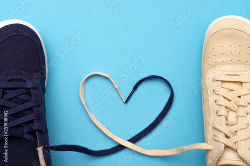 New sneakers laces are in the form of heart. Canvas-taulu