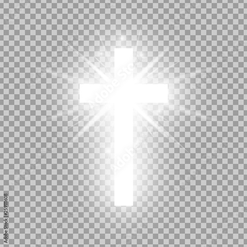 Shining white cross isolated on transparent background. Riligious symbol. Glowing Saint cross. Easter and Christmas sign. Vector illustration Wall mural