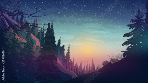Montage in der Fensternische Blaue Nacht Sunset in the mountains with pine forest, spring landscape.