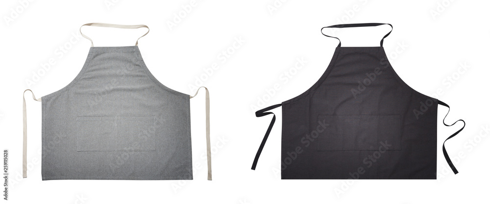Fototapeta Black and gray apron for kitchen top view. Isolated on white background.