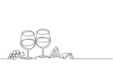 Wine glasses, cheese, fruit. Vector. Drawing by continuous line. Doodle. Sketch. - 259115629