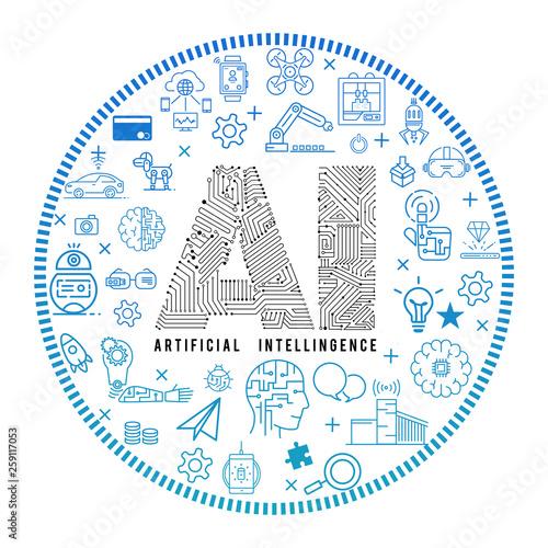 Artificial Intelligence concept vector icon.