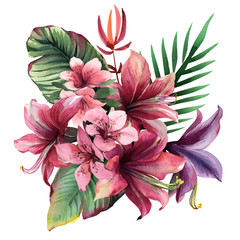 FototapetaWatercolor bouquet of tropical flowers and leaves on white background