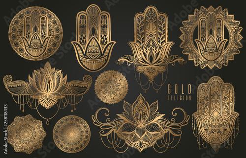 Carta da parati  Set of religious Buddhism oriental elements of gold color