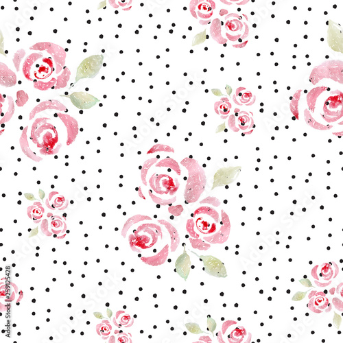 Poster de jardin Retro sign watercolor roses seamless pattern