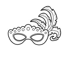 Coloring Book, Carnival Mask With Feathers