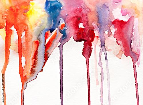 Valokuva  Rainbow splatter watercolor