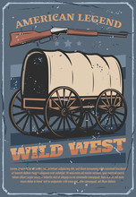 Wild West American Western Wagon Cart And Rifle