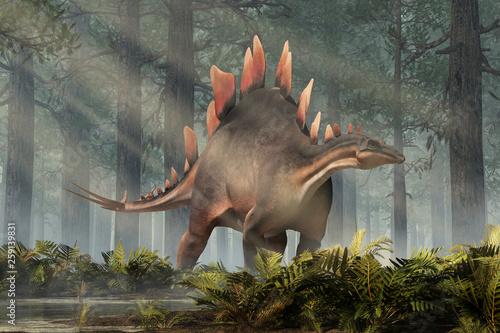 Photo  Stegosaurus, was a thyreophoran dinosaur