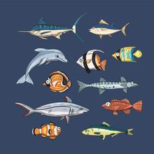 Underwater Fishes. Vector Set