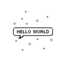 Hello World In Speech Bubble 8...