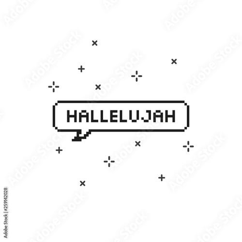 Hallelujah in speech bubble 8 bit pixel art. Canvas Print