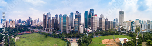 Panorama Drone Shot of the Sudirman Central Business District in Jakarta, Indonesia