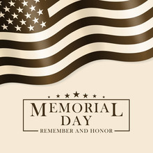 Memorial Day Background With USA Flag And Lettering. Black And White Template For Memorial Day Design. Memorial Day Background In Retro Style. Vector EPS 10.