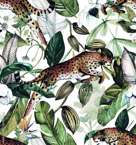 jednolity-wzor-akwarela-z-tropikalnych-kwiatow-magnolii-kwiatu-pomaranczy-wanilii-tropikalnych-lisci-lisci-bananowca-pantery-z