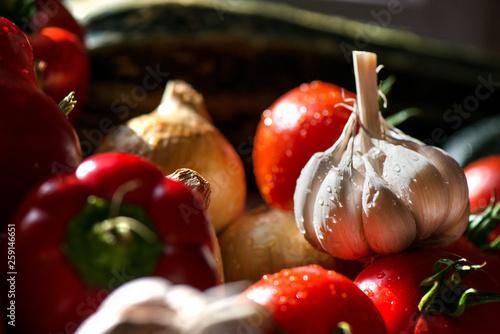 Fotomural  Ripe fresh harvested vegetables on table