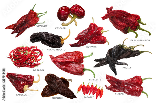 Deurstickers Hot chili peppers Different dried peppers, paths