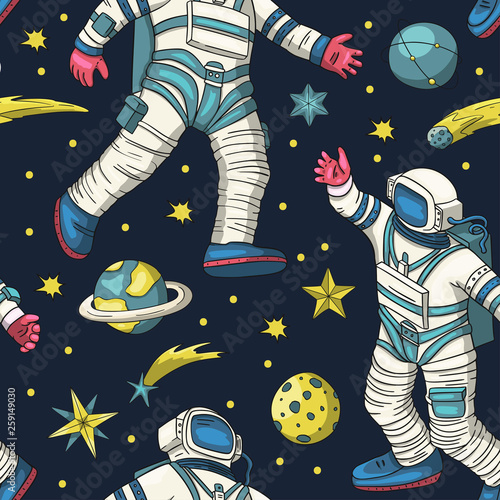 astronaut-vector-seamless-pattern
