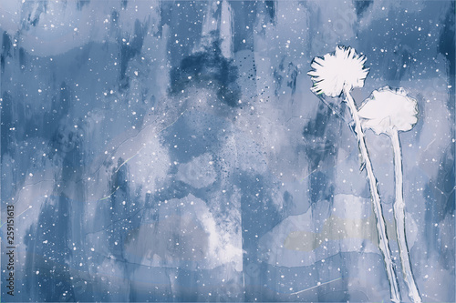 Garden Poster Bestsellers Digital painting of white flower on cool tone background