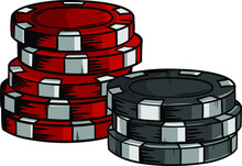 Two Piles Of Poker Chips Of Di...
