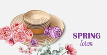 Spring Hat With Flowers Vector. Seasonal Card Backgrounds