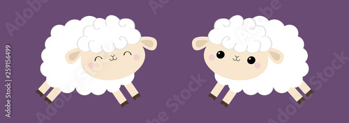 Sheep lamb icon set Canvas Print