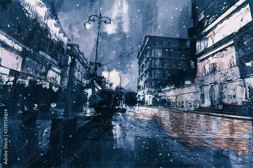 Digital painting of buildings in dark tone, city in night time with walking people