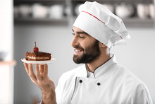 Male Confectioner With Piece O...