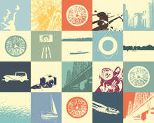 Vector Collection Of Retro Minimalistic Cards. Travel Poster. Minimal Design.