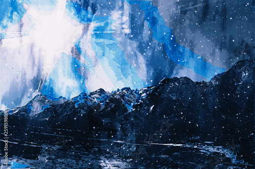 Fototapety, obrazy: Abstract painting of mountain in cool tone, Digital painting