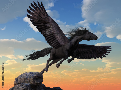 Fotografía A black coated pegasus launches itself into the winds from the very top of a rocky mountain