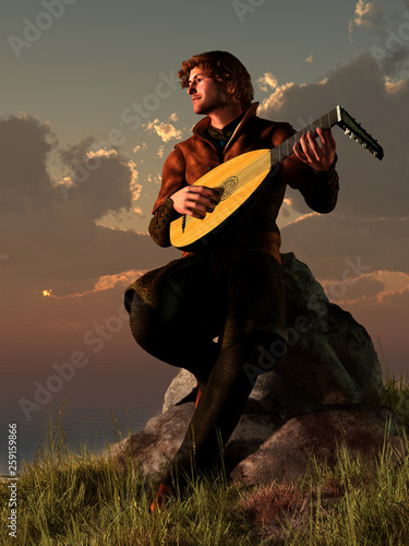 A bard plays his lute while sitting on a rocky point next to the ocean as the sun sets over the water Canvas Print