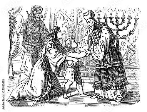 фотография Vintage Drawing of Biblical Story of Elkanah and His Wife Hannah Who Are Presenting Son Samuel to Priest Eli