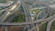 Aerial view and Top view. Traffic of expressways, motorways and highways